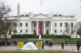 A red ribbon in honor of World AIDS Day is displayed on the White House