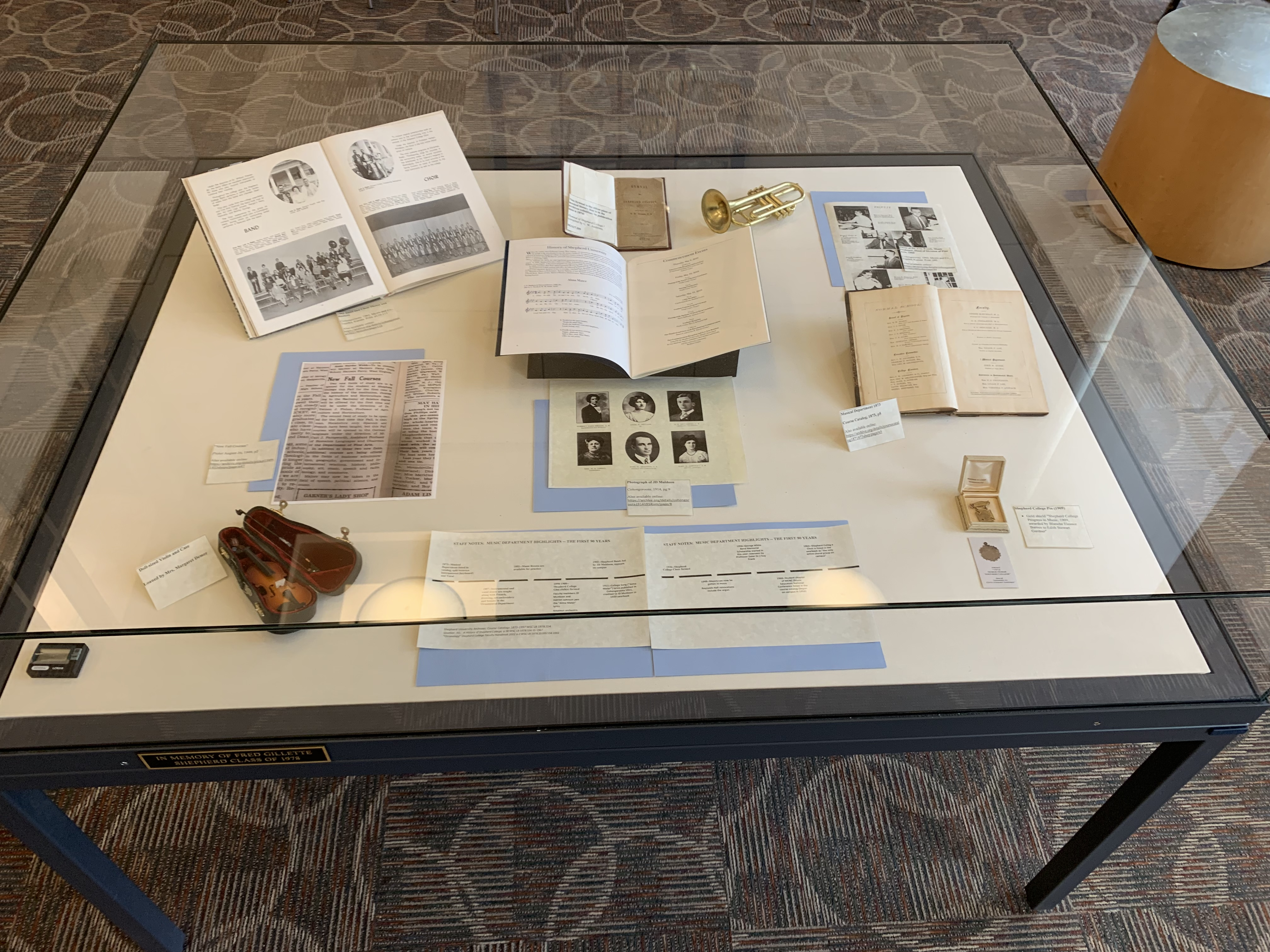 Photo of Reading Room display for Fall 2019: Staff Notes Music Department Highlights: The First 90 Years