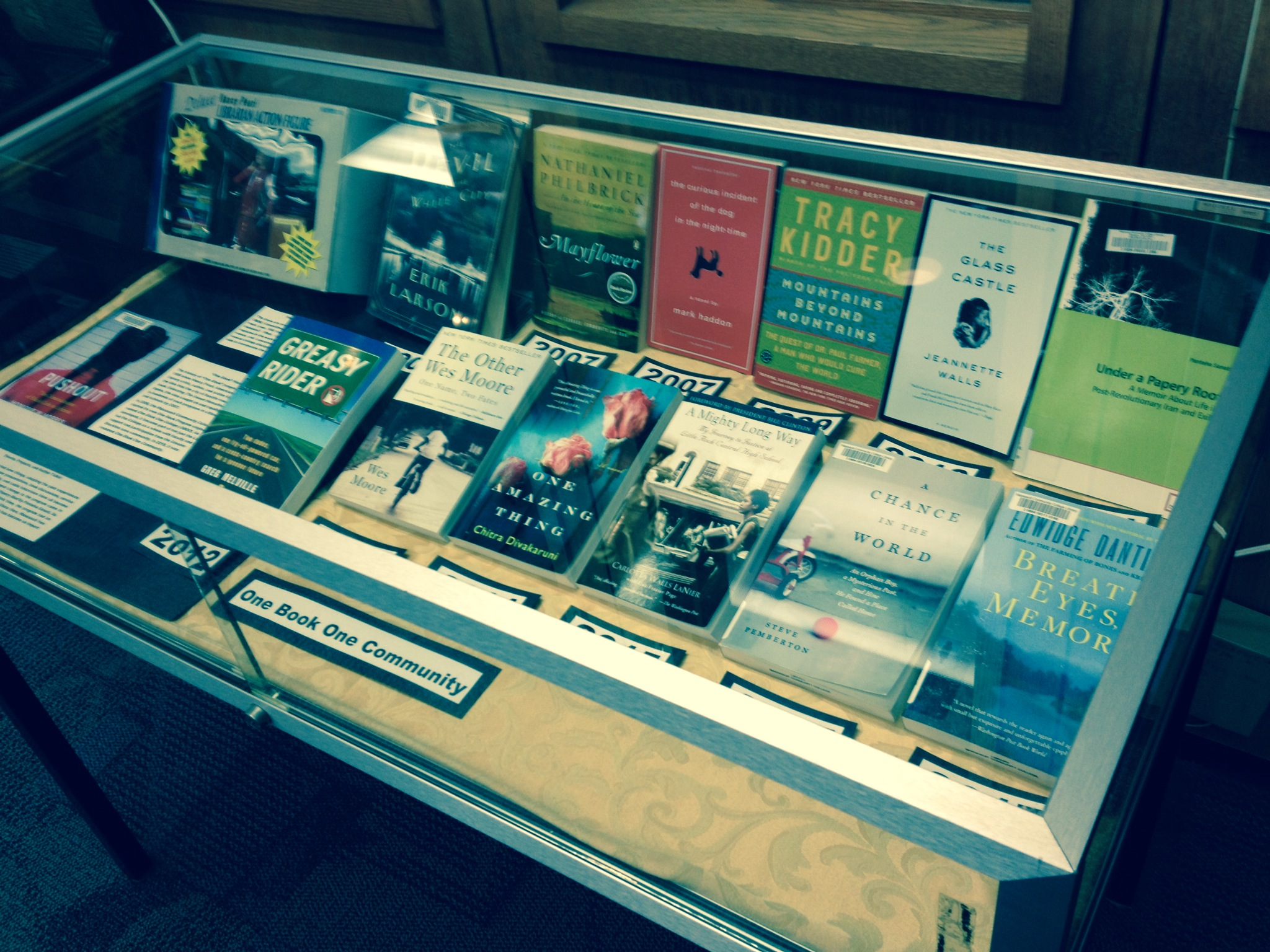 Previous One Book selections in display case