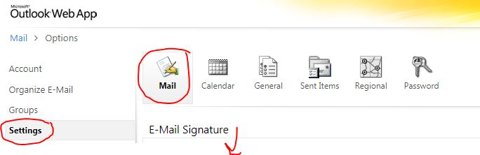 email options for signature