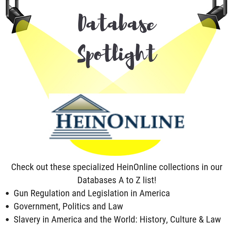 click here to access the database a to z list featuring heinonline databases