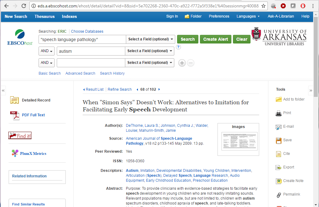 "Screen capture of a database record for the article When ""Simon Says"" Doesn't Work: Alternatives to Imitation for Facilitating Early Speech Development"