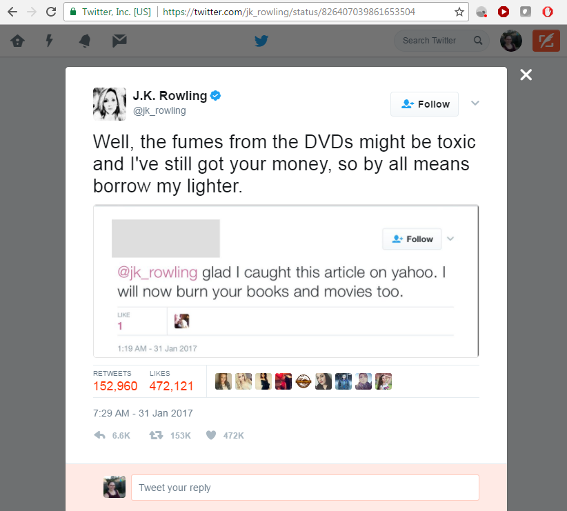 Screen capture of a tweet by J.K. Rowling