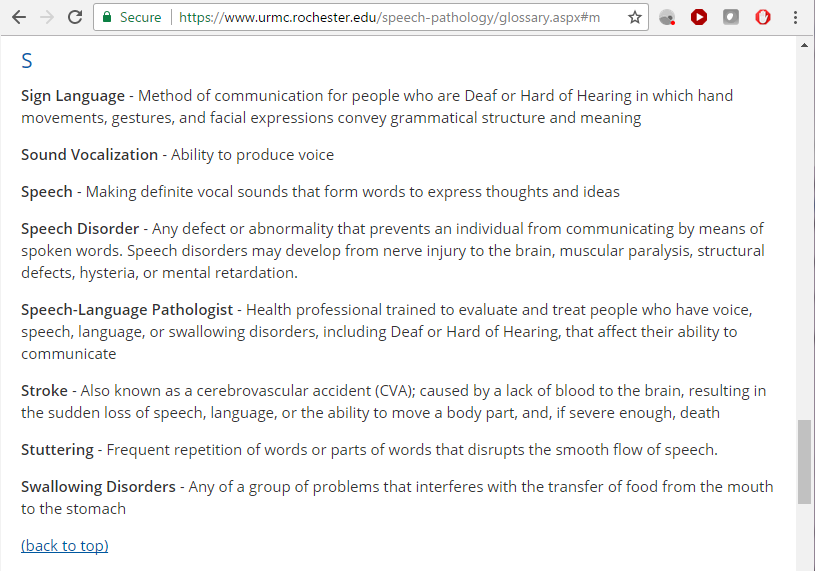 Screen capture of a speech pathology glossary from the University of Rochester Medical Center