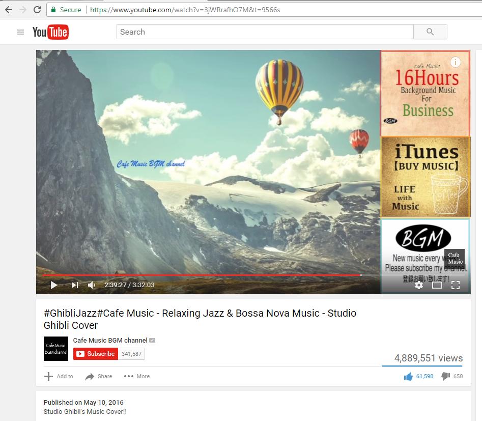 "Screen capture of a YouTube video titled ""#GhibliJazz#Cafe Music - Relaxing Jazz & Bossa Nova Music - Studio Ghibli Cover"" published by YouTube channel ""Cafe Music BGM channel"""