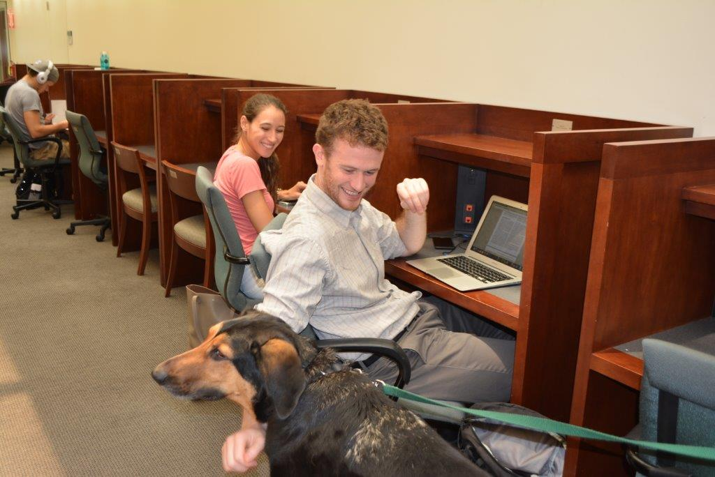 Students taking a study break and petting a dog