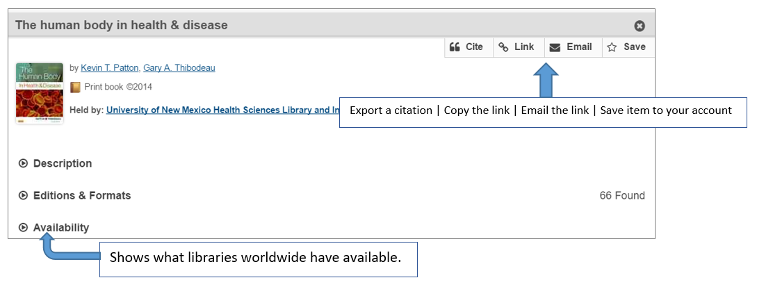 "Result page for title ""The human body in health & disease"". Shows how one can cite, export a link, email a link, or save this item record using the buttons on the top right of the page. Also, shows holdings statements of libraries around the world found in ""Availability/Holdings"" section below title information."