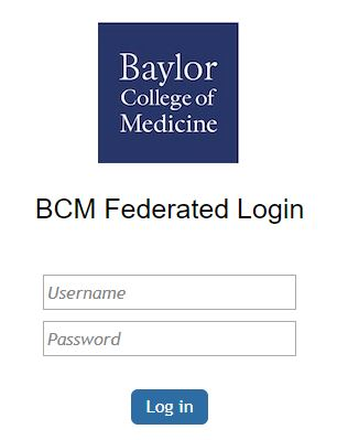 Baylor College of Medicine Federated Login