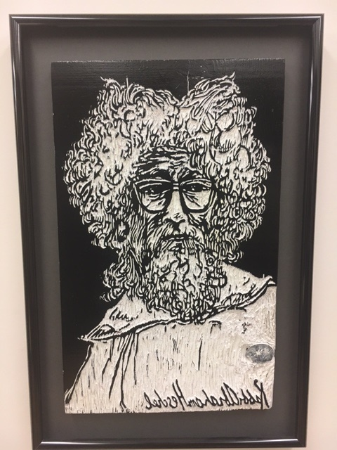 Second Floor: Wood Cut of Abraham Heschel by Bill Morgan