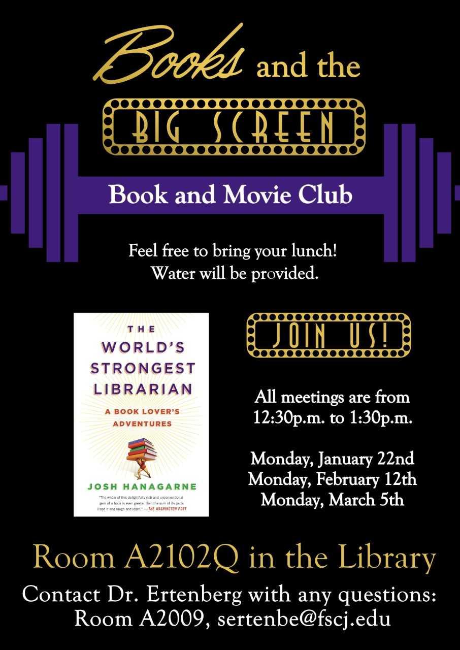 Poster listing dates for book/movie club.