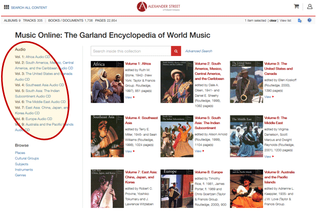 Garland landing page with audio cd access highlighted on left