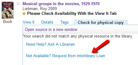 Search It book record has link for requesting a loan.