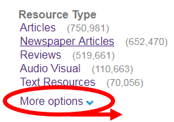 More options link located at end of Resource Type filter