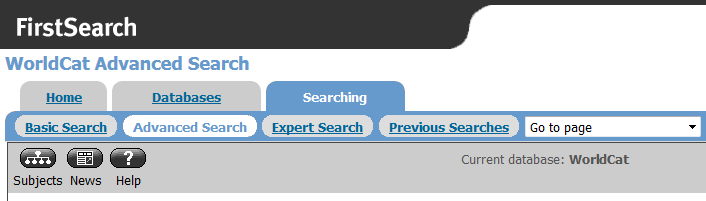 Worldcat advanced search button is after the basic search button