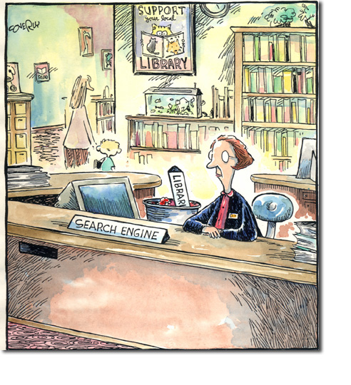 cartoon--librarian as search engine