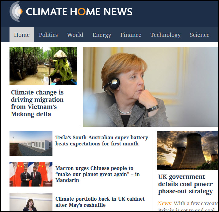 Climate Home News website homepage