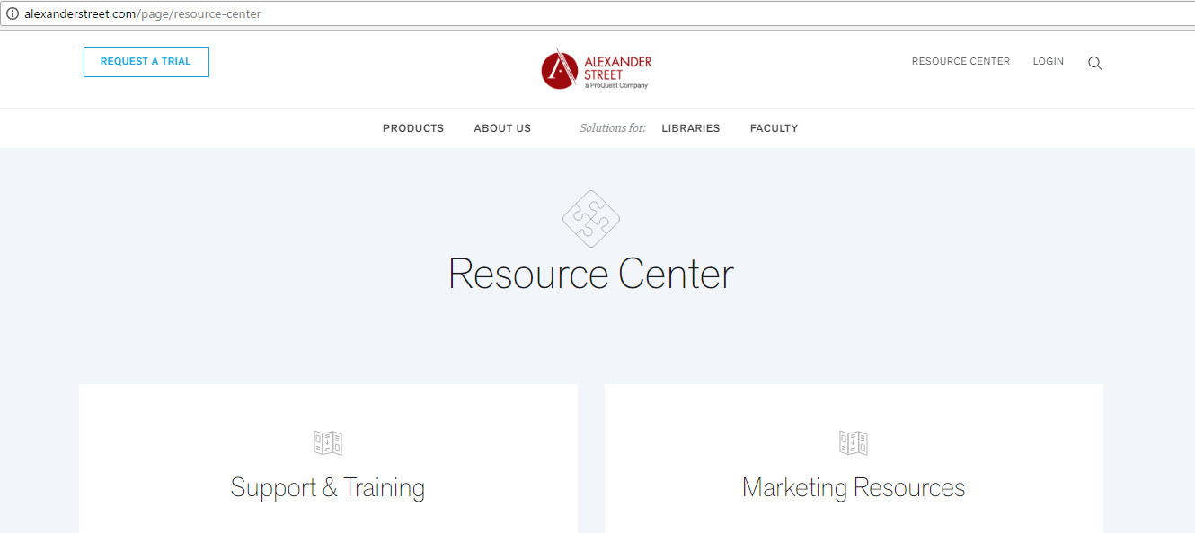 Screenshot of Resource Center page