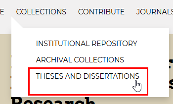 "Screenshot showing the link to theses and dissertations from the ""Collections"" main menu link."
