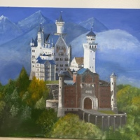 Color painting of a castle in the mountains