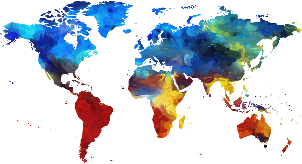 decorative photo - world map in many colors