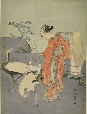"Print of Harunobu's ""Girl with Cranes,"" picturing a Japanese woodblock drawing of a woman with a kimono, carrying two buckets of salt water, to the right of two cranes"