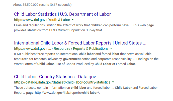 screenshot of Google results search
