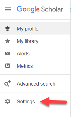 Google scholar settings icon