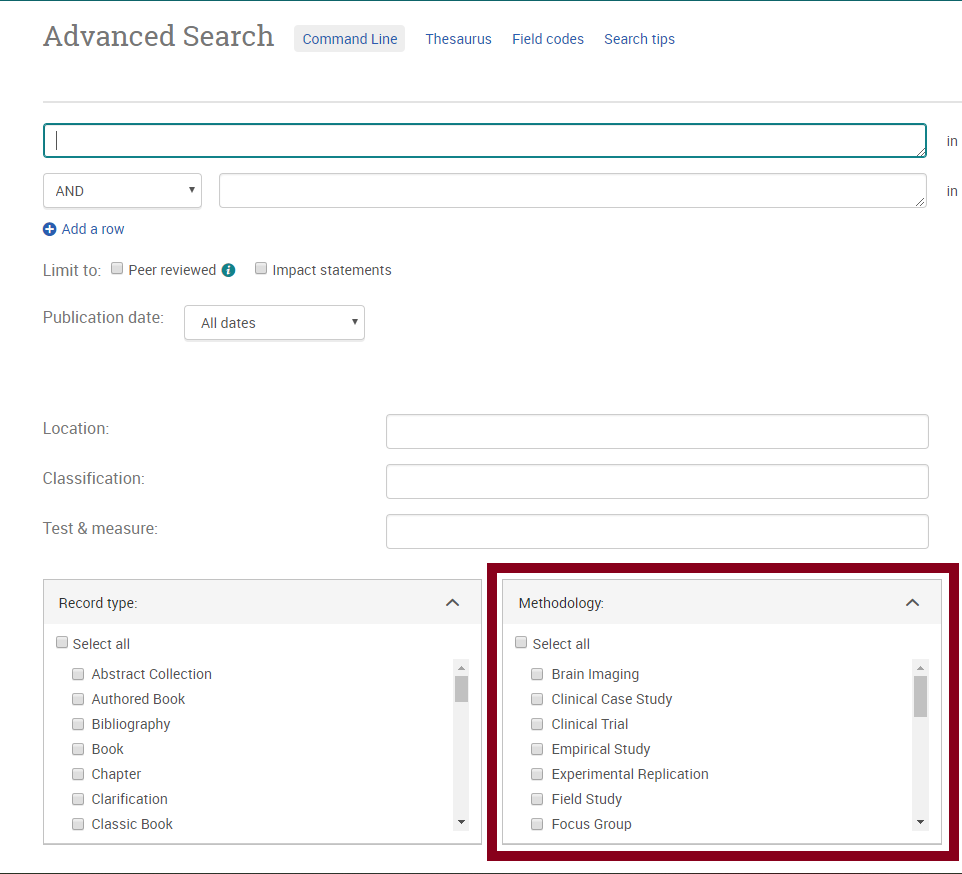 screenshot from PsycINFO advanced search