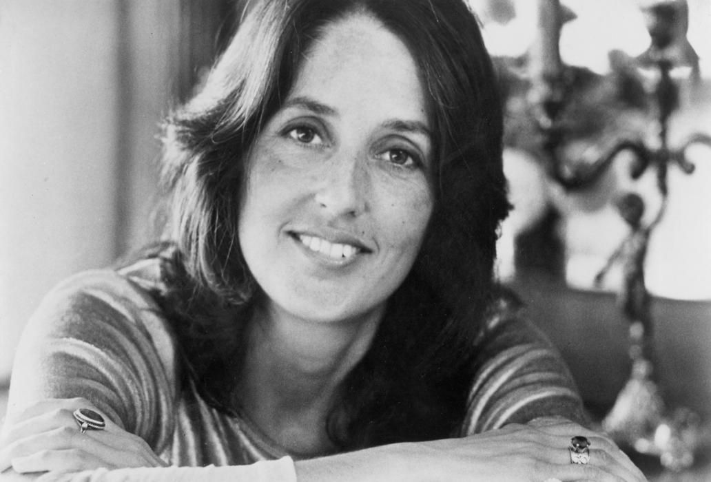 Joan Baez headshot, black and white
