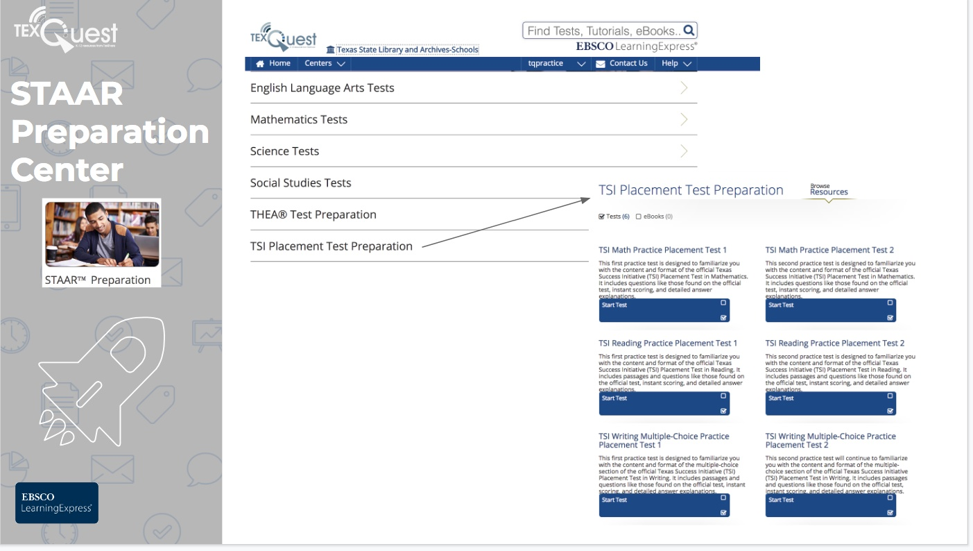 Image of Texas Success Initiative in EBSCO LearningExpress
