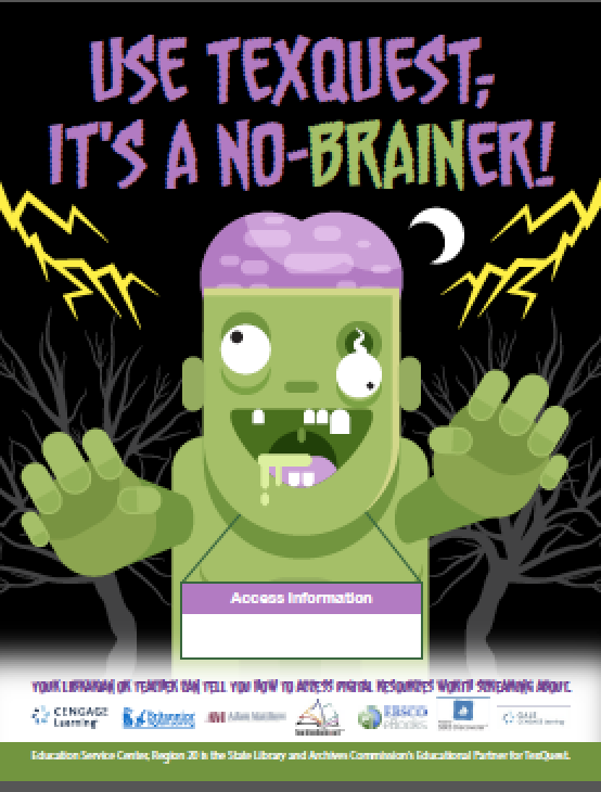 "Image of promotional flyer ""Use TexQuest; It's a No-Brainer"" with  a zombie"