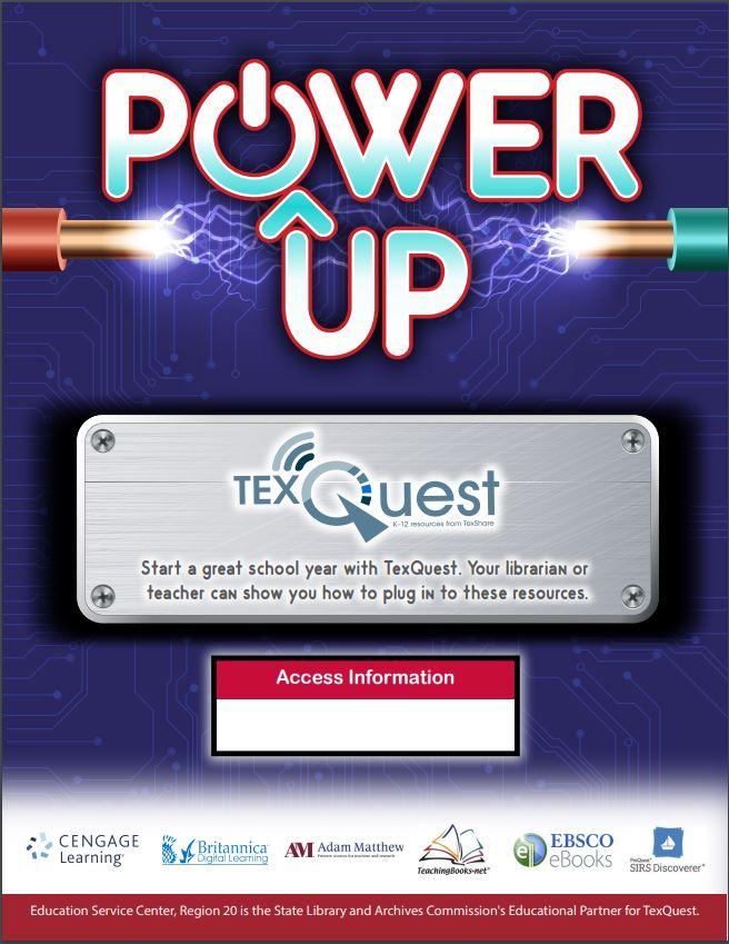 "Promotional flyer ""Power Up: TexQuest"""