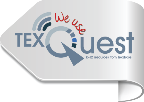 """We Use TexQuest"" icon pointing left"