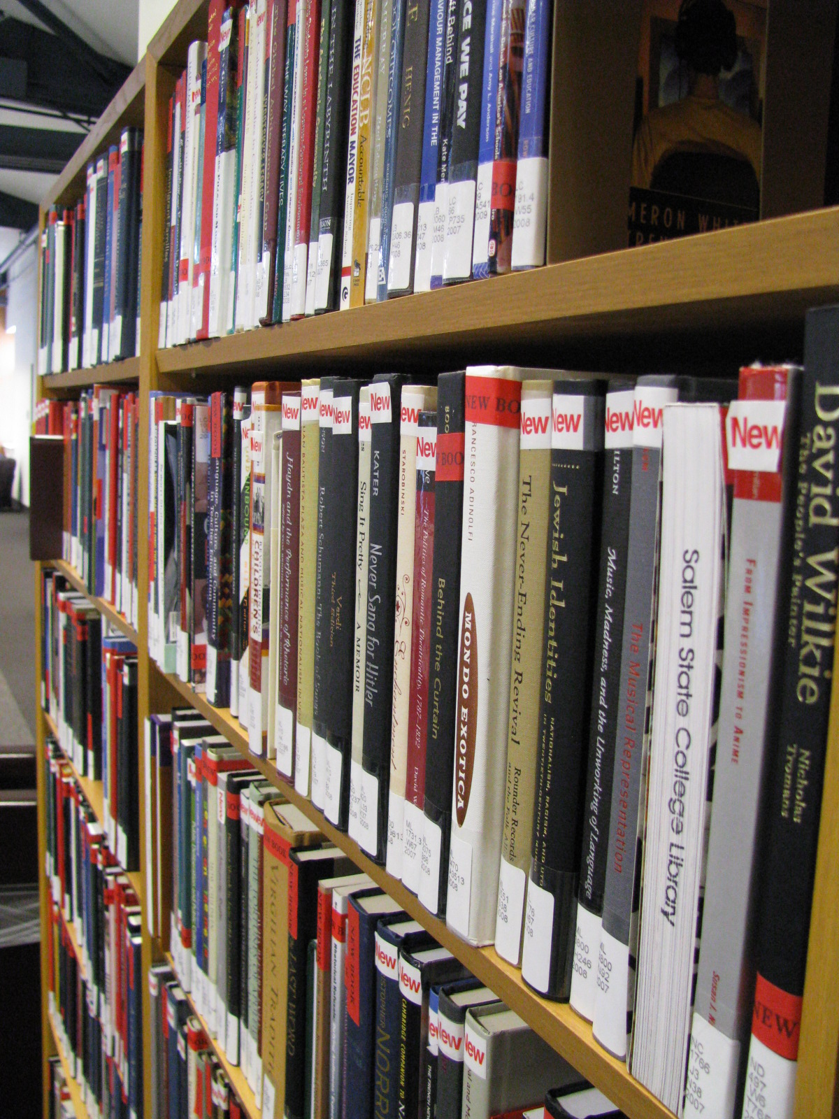 new library books on shelf