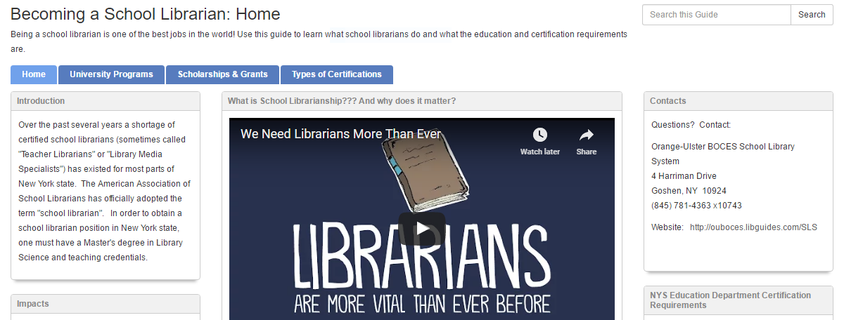 Become a School Librarian Libguide