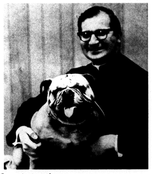 "Fr. Anthony Via, S.J., & mascot, ""General Chesty"", 1970"
