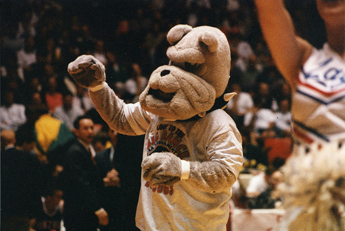 Spike sporting the first NCAA tournament shirt, 1999