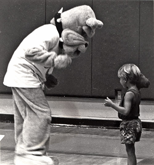 Spike playing with young GU fan, circa 1995