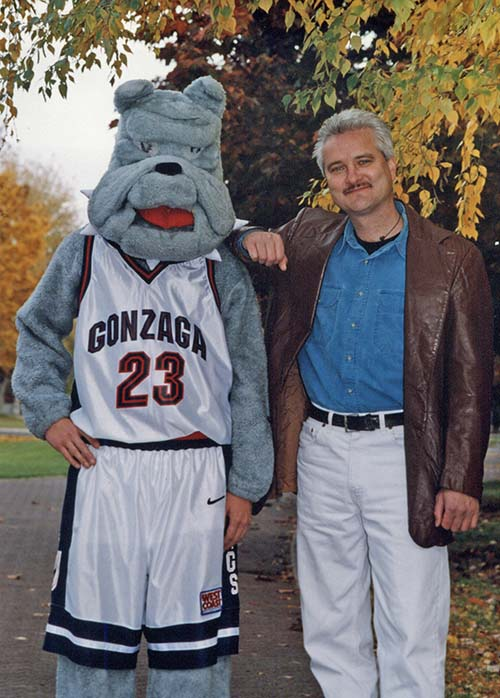 Lee Mauney, the original human mascot, with Spike, 2001