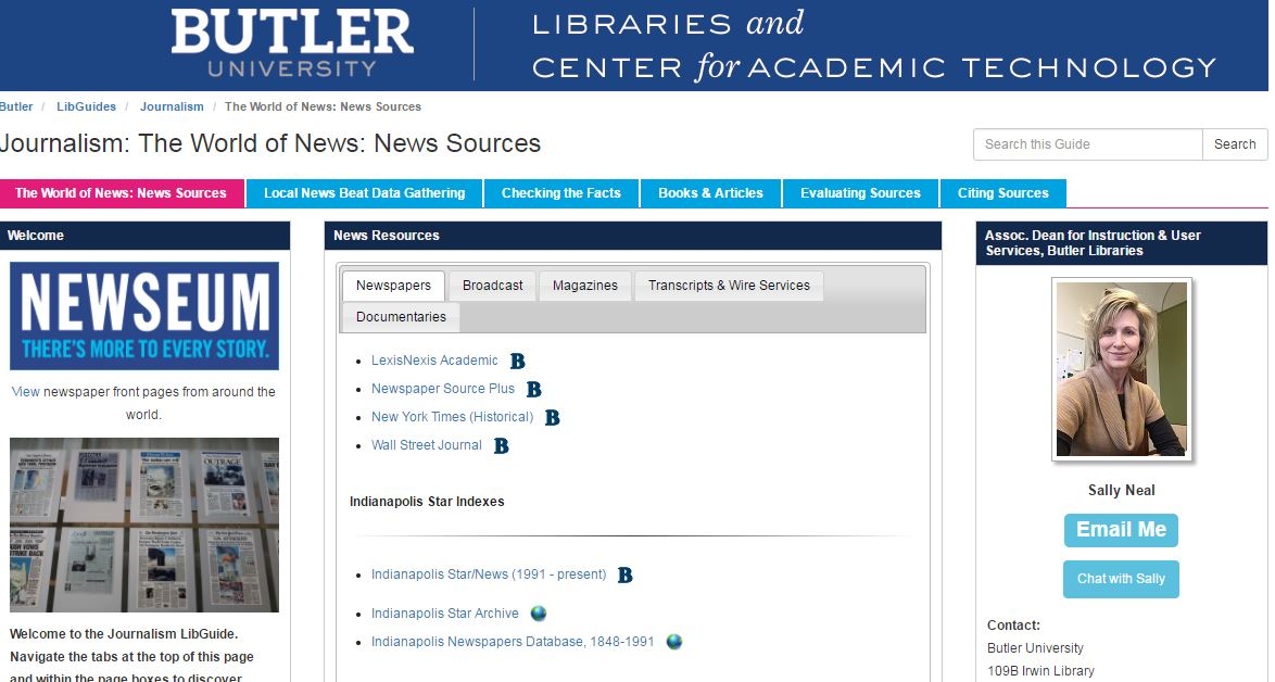 Screenshot of the Journalism LibGuide