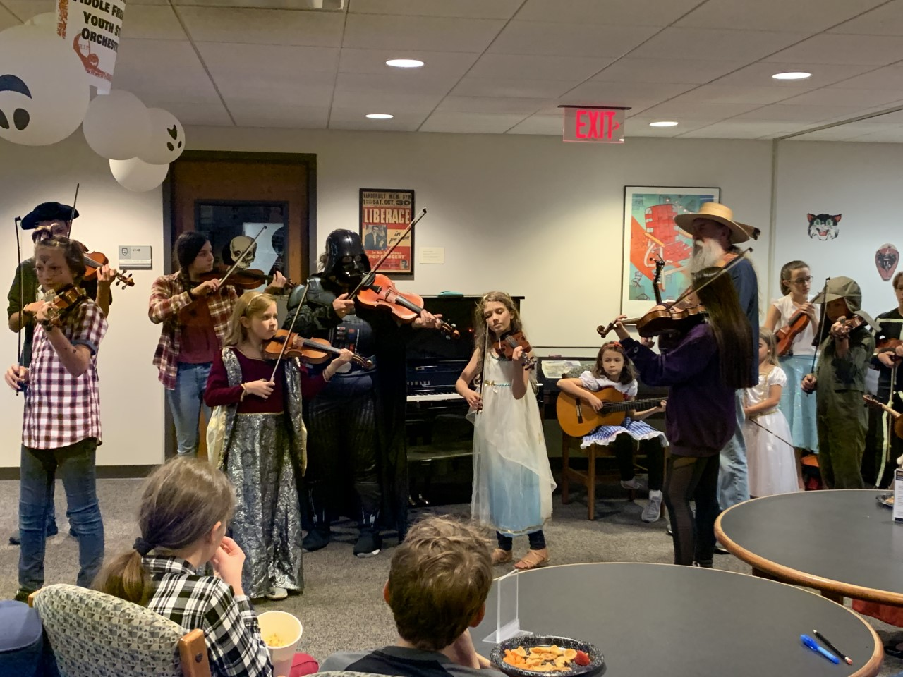 Blair's Fiddle Frenzy performs at the Halloween Open House on Tuesday, Oct. 29, 2019.