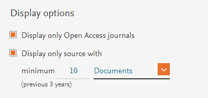 Screenshot of Filter options in Scopus Sources