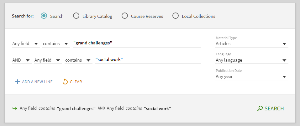 Screenshot of InfoKat discovery search for grand challenges and social work