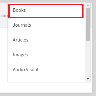 "Catalog screenshot showing selection of ""books"" as material type"