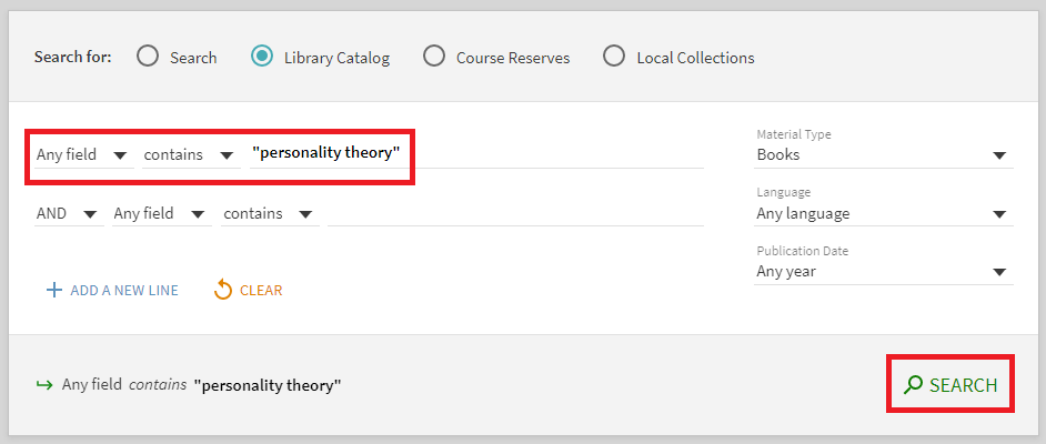 "Catalog screenshot using ""personality theory"" as an example search"
