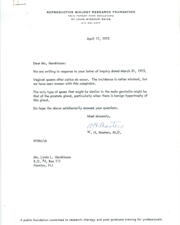 Scan of a letter from the Reproductive Biology Research Foundation to Linda Hendrixson April 17, 1975