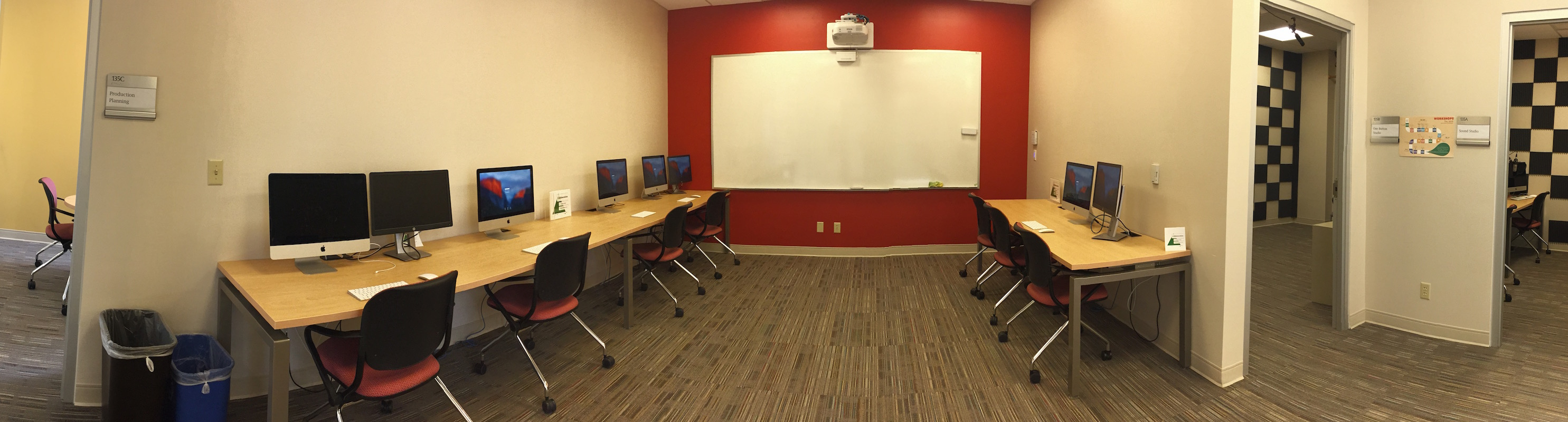 A panorama of the Editing Suite in the Digital Studio.