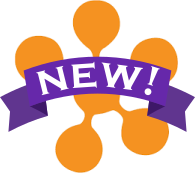 D2L symbol with ribbon reading 'new'