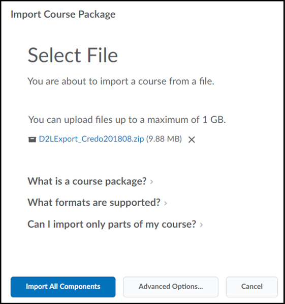 Screenshot of the D2L zip file selected