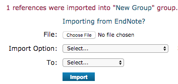 references were imported into endnote
